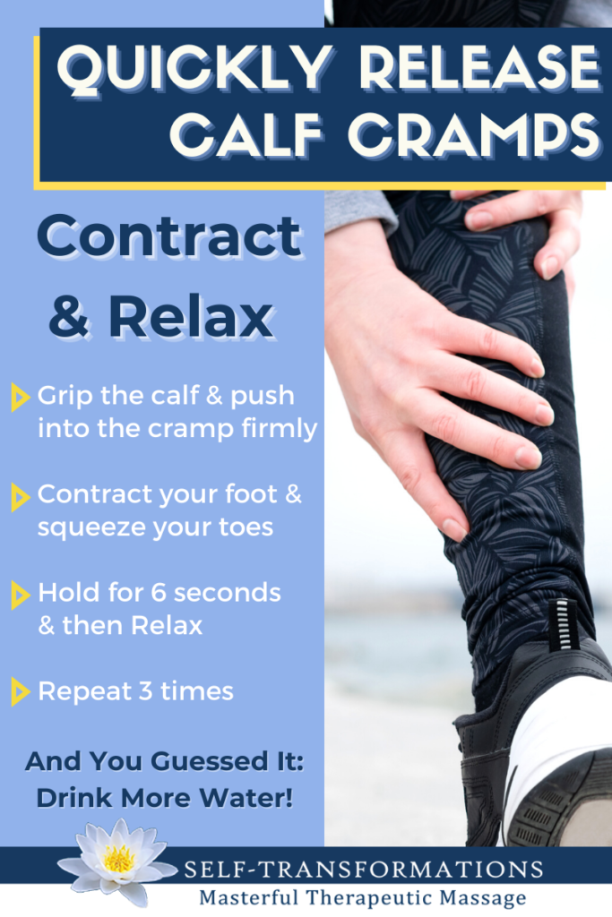 Infographic on Quickly Releasing Calf Cramps with Contract & Relax Self Massage Technique